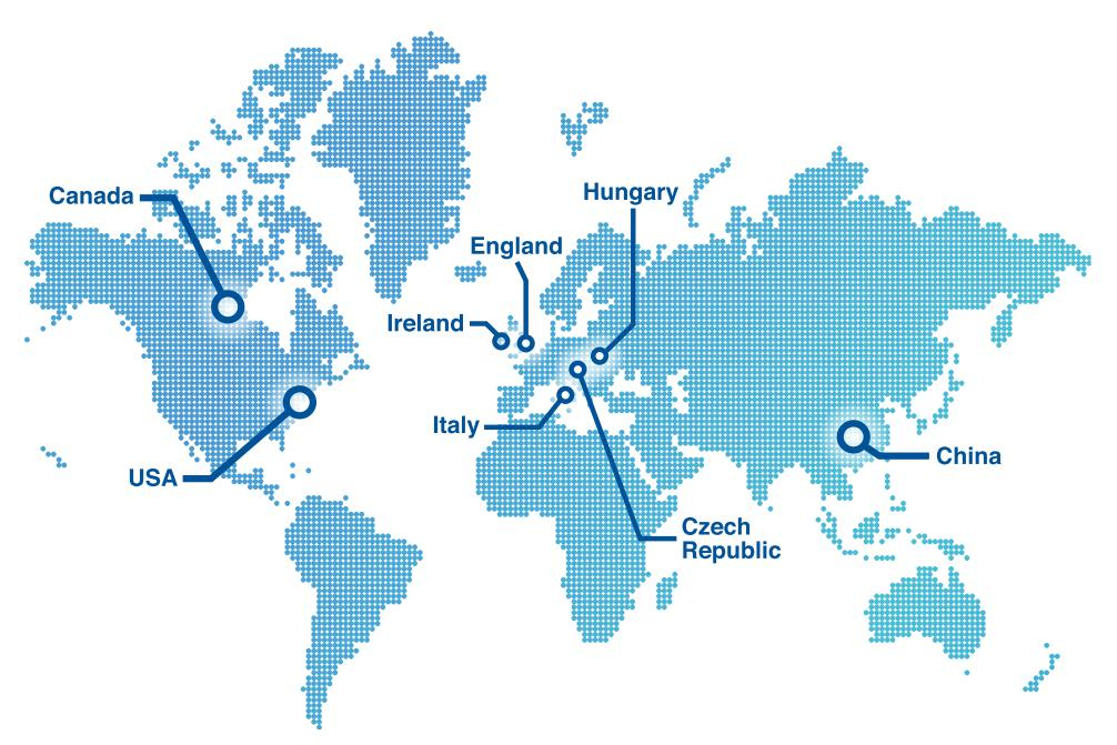 World map with office locations